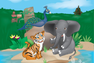 Color custom illustration of a tiger, peacock and elephant that are all friends this is a color cover illustration by Toby