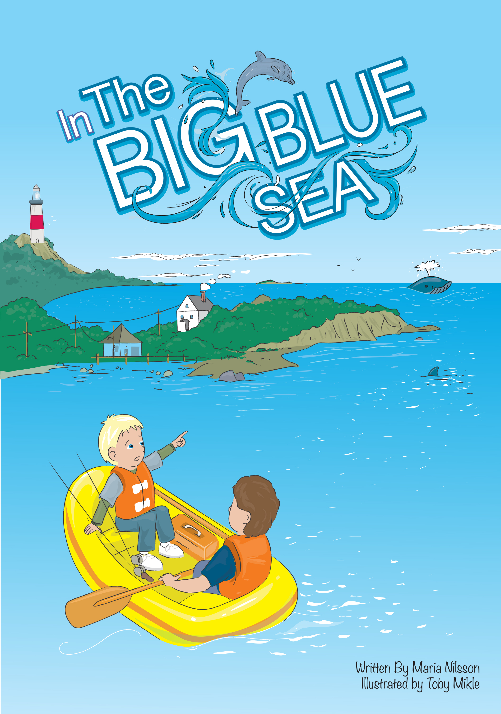 This is the bright cover of the big blue sea which is an adventure book about two children who are on a raft in t =he ocean