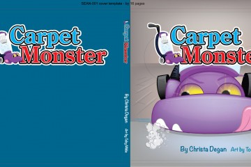 A Custom Book cover design about a vacuum cleaner that was made to be menacing but also kid friendly, in vector format