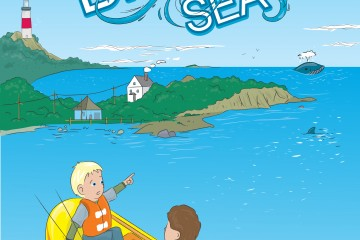 Custom Cover Illustration about boys in the Big Blue sea with whales and dolphins from sketches and revisions to final color