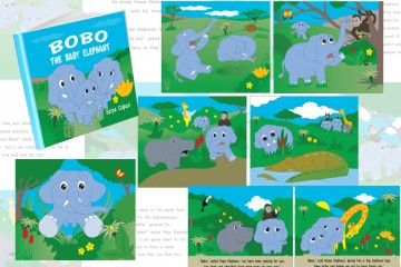 A custom Illustrated children's book about a missing baby elephant named bobo the search begins when their parents find