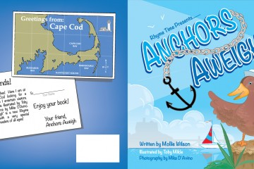 Vector custom book cover illustration for a story about a duck named Anchors Away which a duck discovers places in cape cod