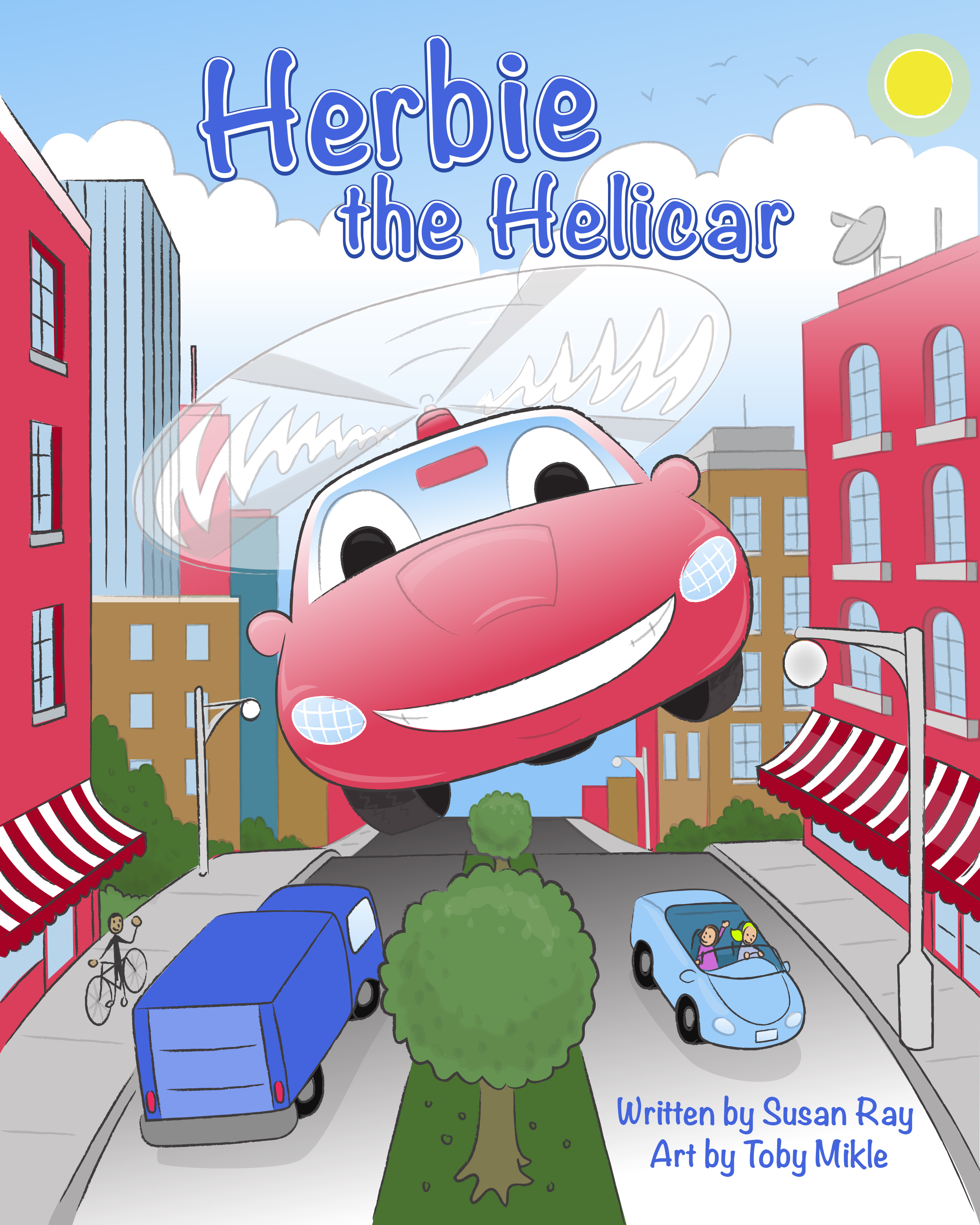 This is a custom book cover about Herbie the flying car can be edited and scaled for any publishing or print use