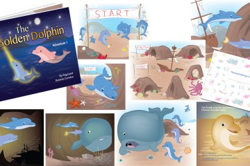 Custom Illustrations of a dolphin for a kids book about being different isn't always bad in some ways it is better
