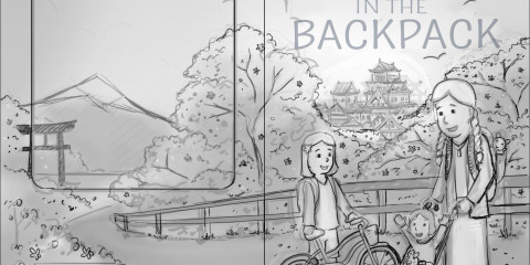 A Gerbil in the Backpack book cover sketch, this is what I drew for the client to review before I created a color version