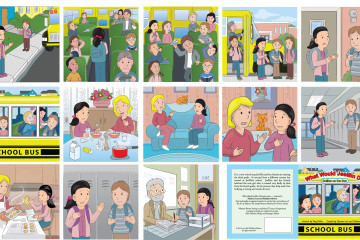 Here are the pages for the book about being bullied on the school bus. Custom vector artwork in cartoon form by Toby Mikle