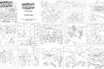 Black and white Children's coloring book art here Barkley is in a variety of scenes this is a picture of all of the pages.