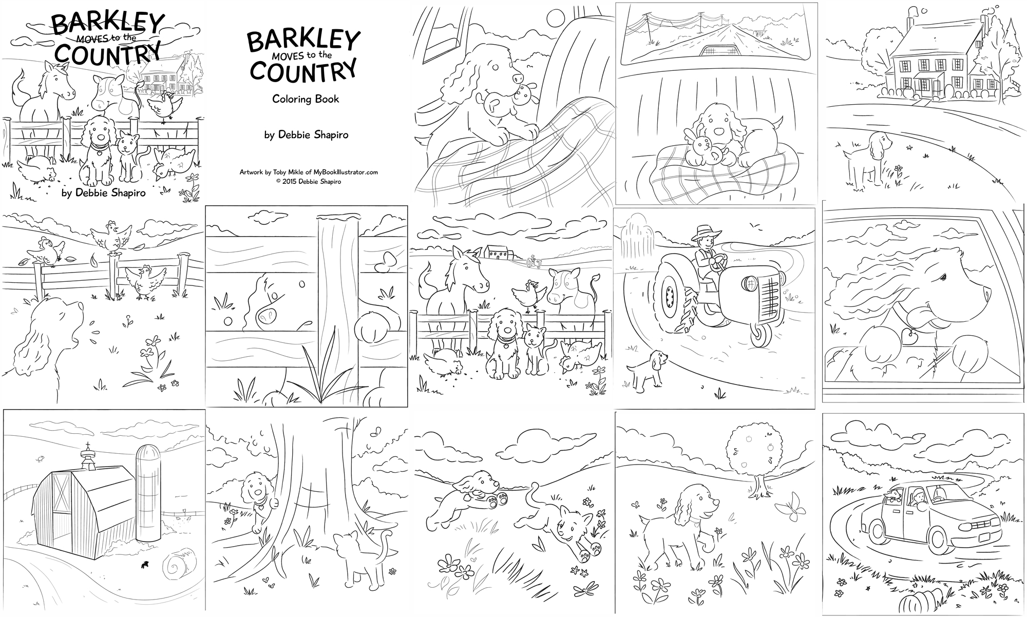 Black And White Childrens Coloring Book Art Here Barkley Is In A Variety Of Scenes This