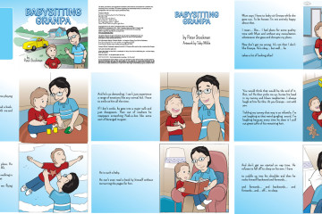 Babysitting Grandpa Children's book is the story of a grandpa and his grandson, custom book cover and illustrations in vector