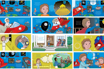 A series of Illustrations about two brothers who share a room one does not want to share his room brother breaking his toys,