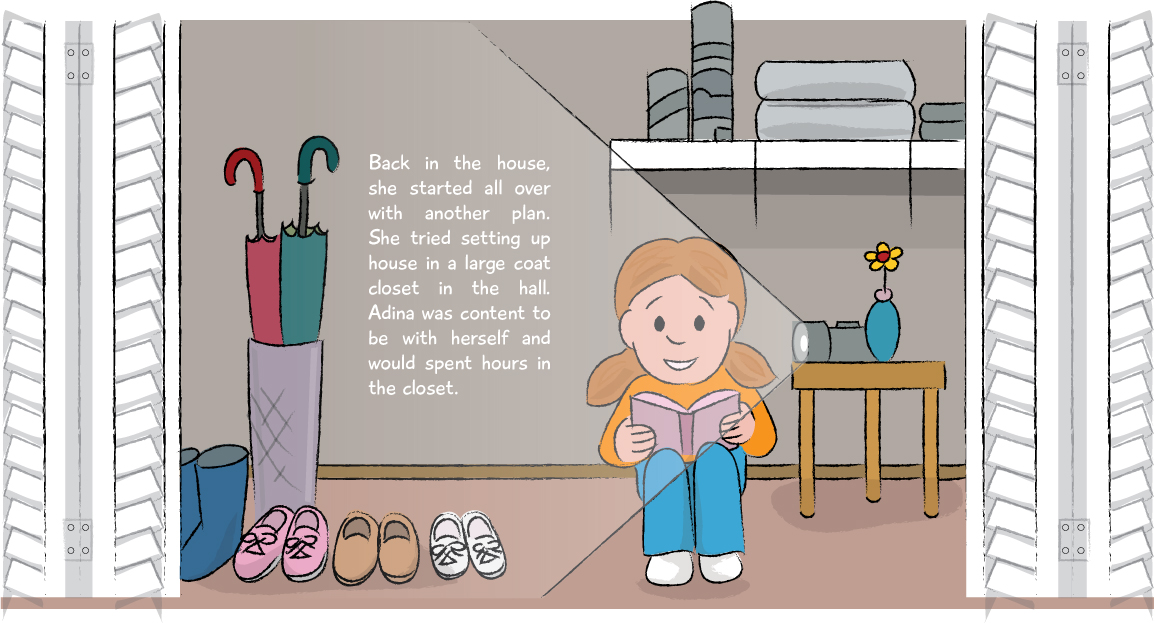 Picture book art for a booka bout a girl hiding in the closet